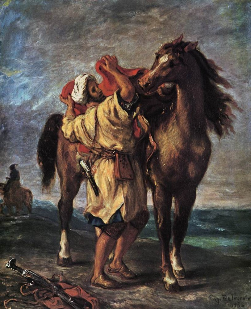 Marocan and his Horse by Ferdinand Victor Eugène Delacroix