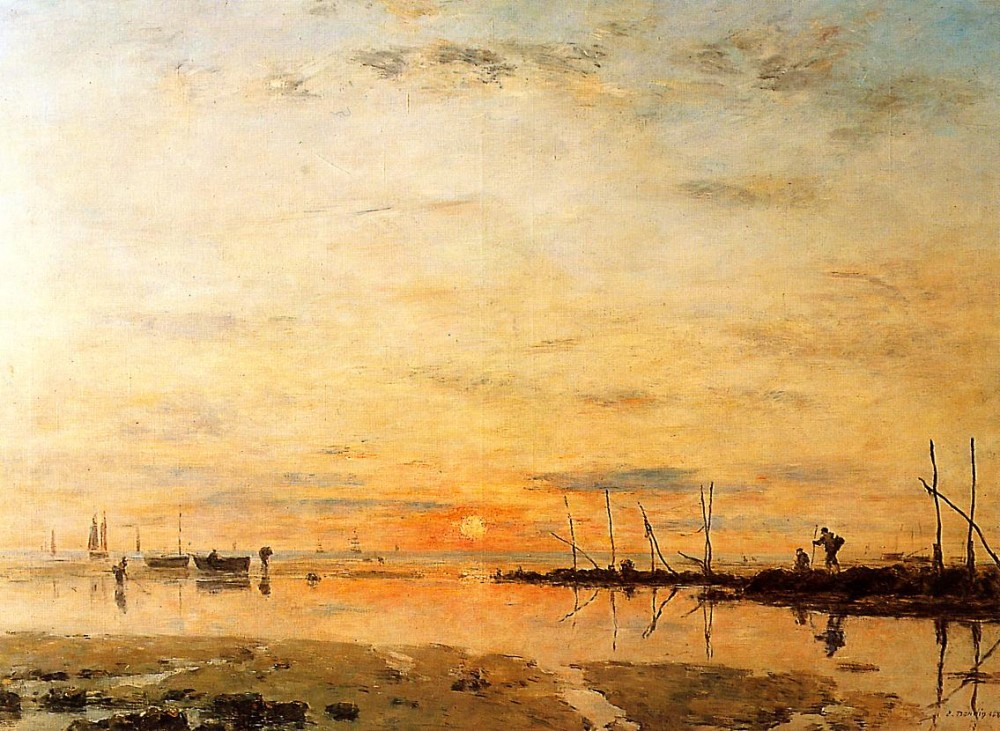 Le Havre, Sunset at Low Tide by Eugène Boudin