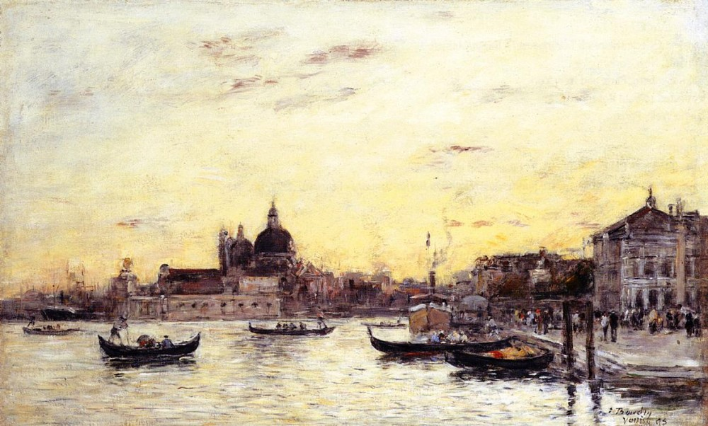 Venice, The Mole at the Entrance to the Grand Canal and the Salute by Eugène Boudin