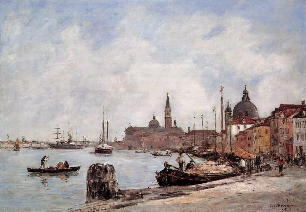 Venice, the Dock of the Guidecca by Eugène Boudin