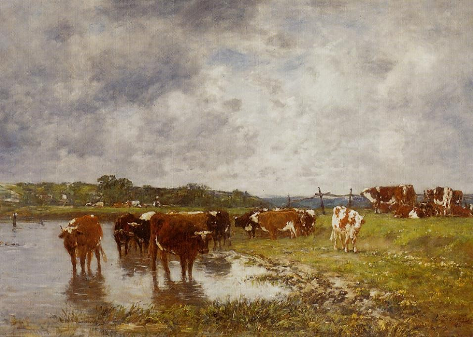 Cows in a Meadow on the Banks of the Toques by Eugène Boudin