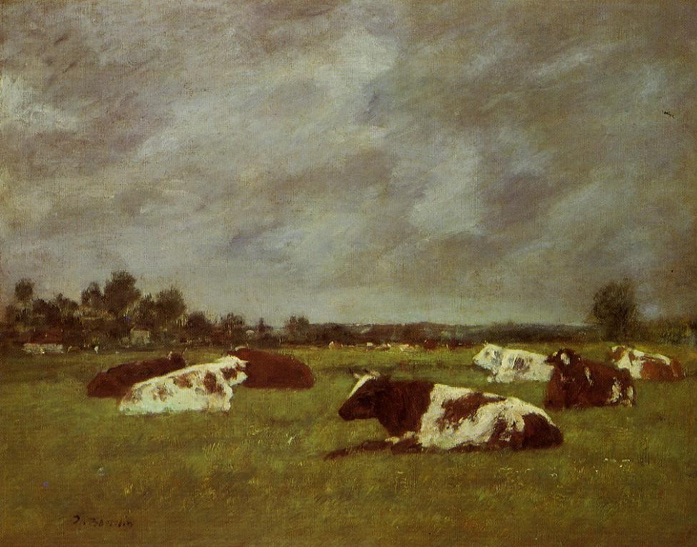 Cows in a Meadow, Morning Effect by Eugène Boudin