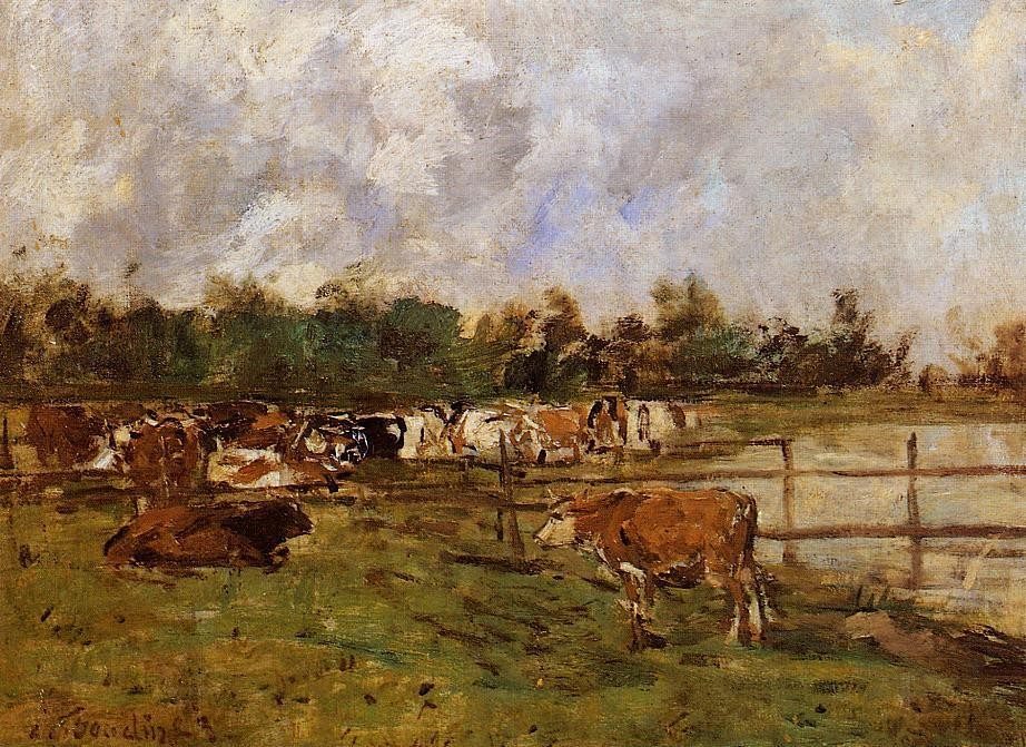 Cows in the Meadow by Eugène Boudin