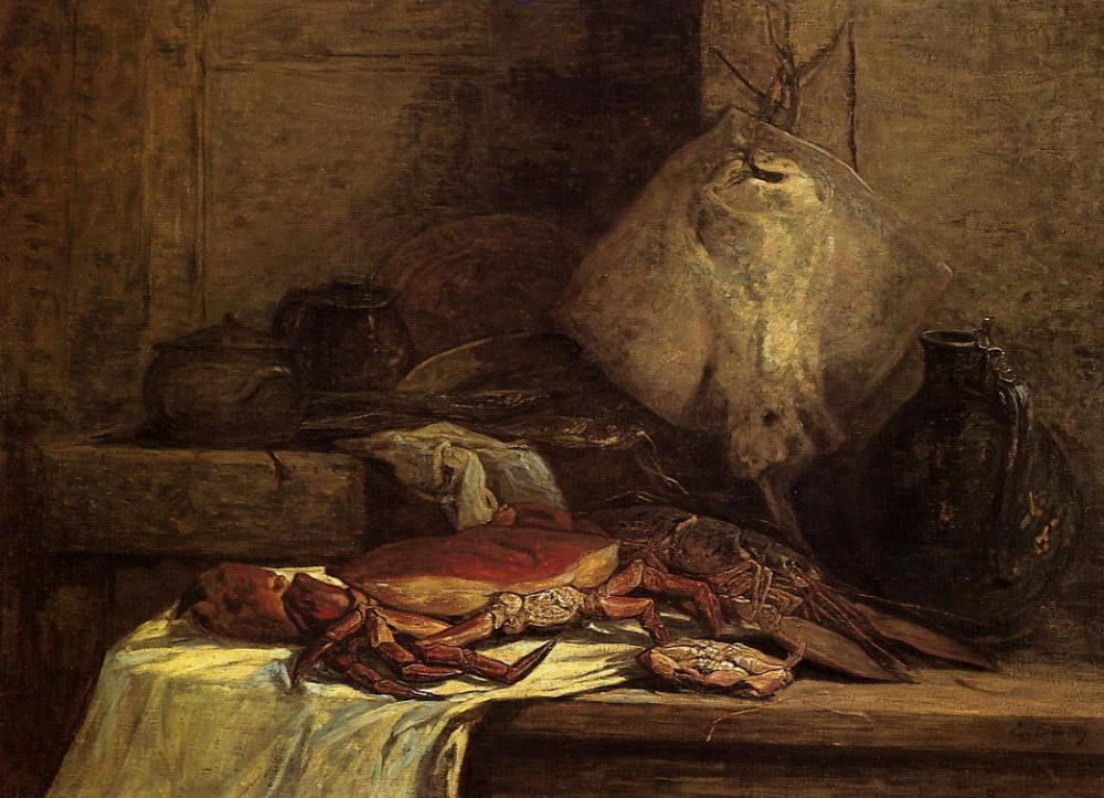 Crab, Lobster and Fish aka Still Life with Skate by Eugène Boudin