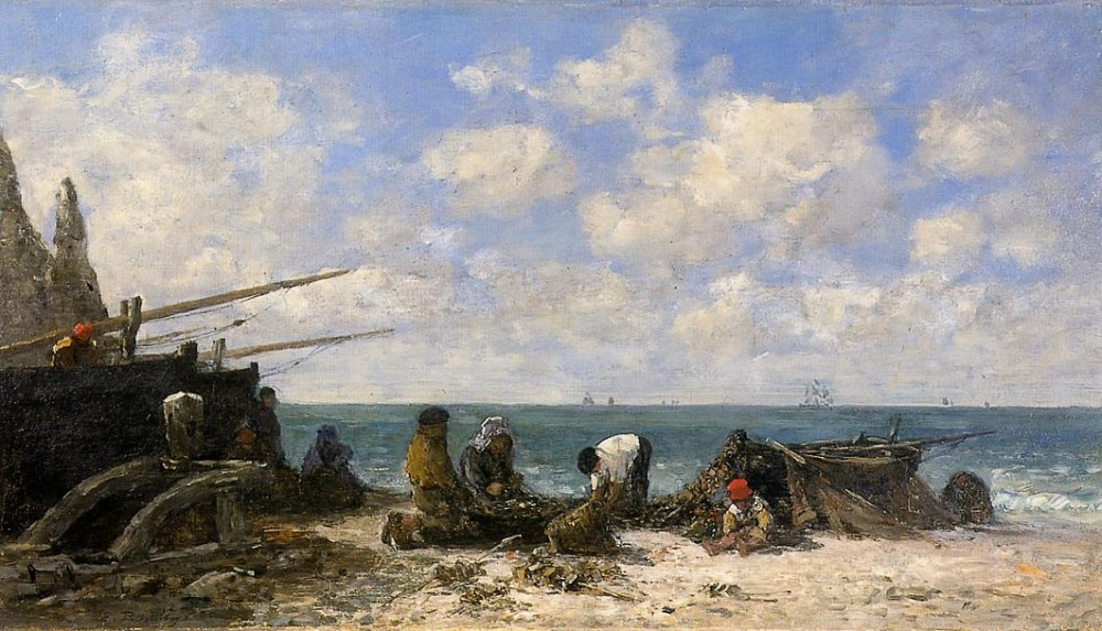 Etretat Fishermen on the Beach by Eugène Boudin