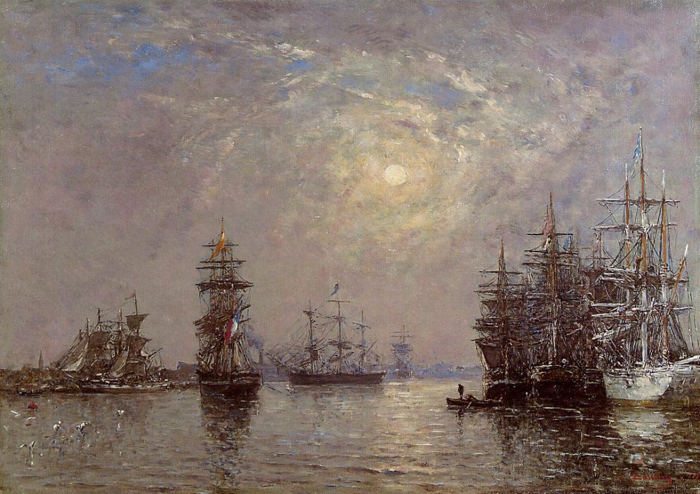 Le Havre European Basin, Sailing Ships at Anchor, Sunset by Eugène Boudin