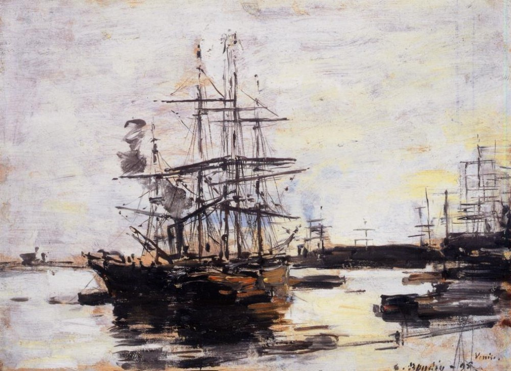 Vessel at Anchor outside of Venice by Eugène Boudin