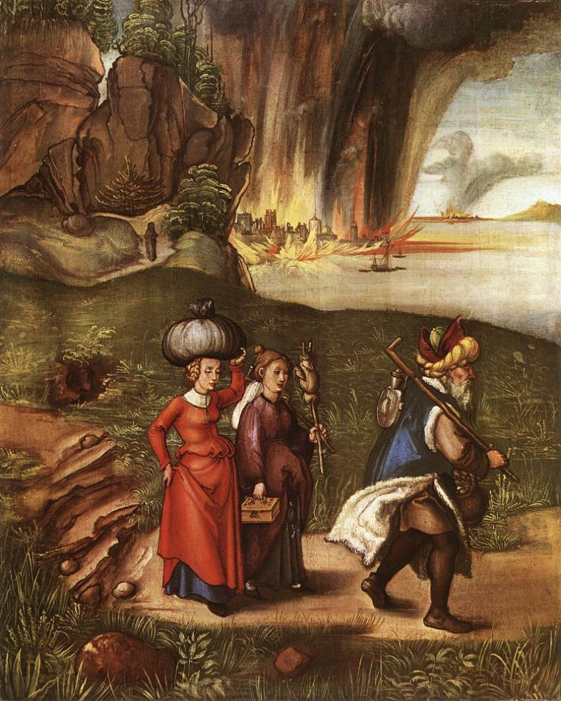Lot Fleeing with his Daughters from Sodom by Albrecht Dürer