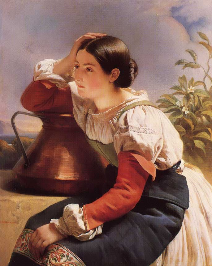 Young Italian Girl by the Well by Franz Xaver Winterhalter