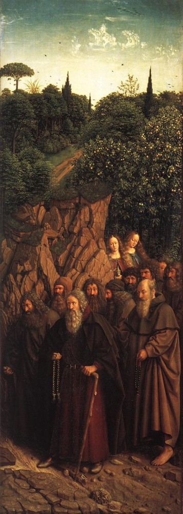 The Ghent Altarpiece Adoration of the Lamb The Holy Hermits by Jan van Eyck
