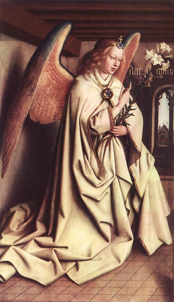 The Ghent Altarpiece Angel of the Annunciation by Jan van Eyck
