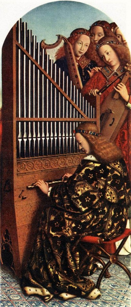 The Ghent Altarpiece Angels Playing Music by Jan van Eyck