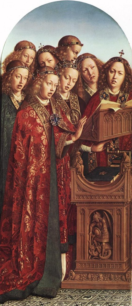 The Ghent Altarpiece Singing Angels by Jan van Eyck