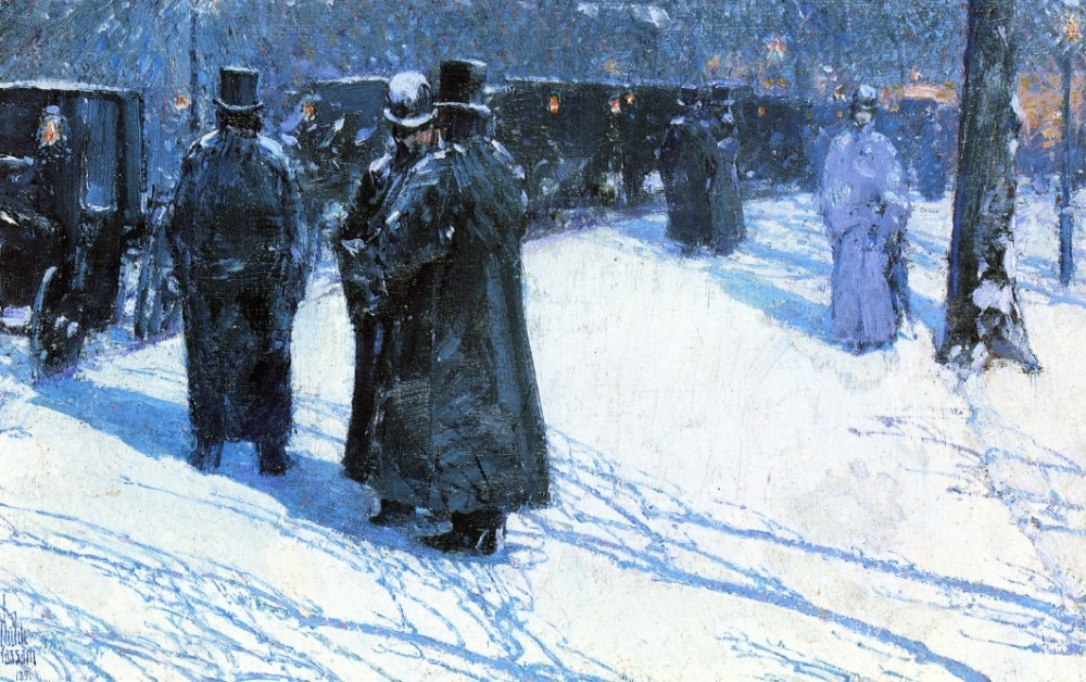 Cab Stand at Night, Madison Square, New York by Frederick Childe Hassam