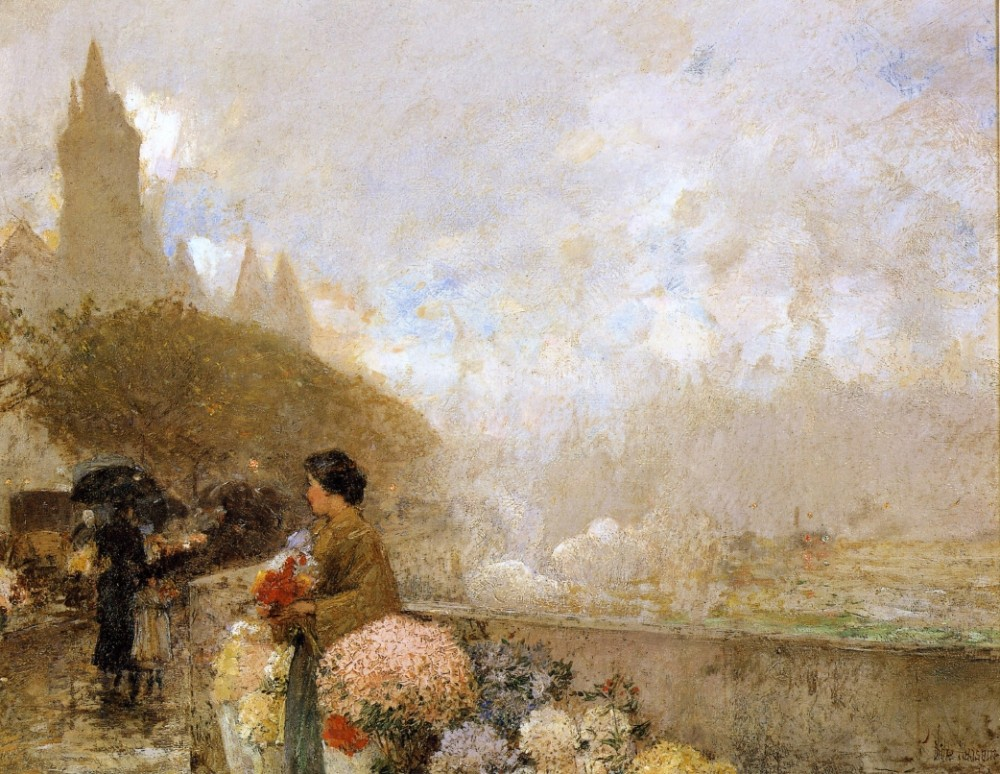 Flower Girl by the Seine, Paris by Frederick Childe Hassam