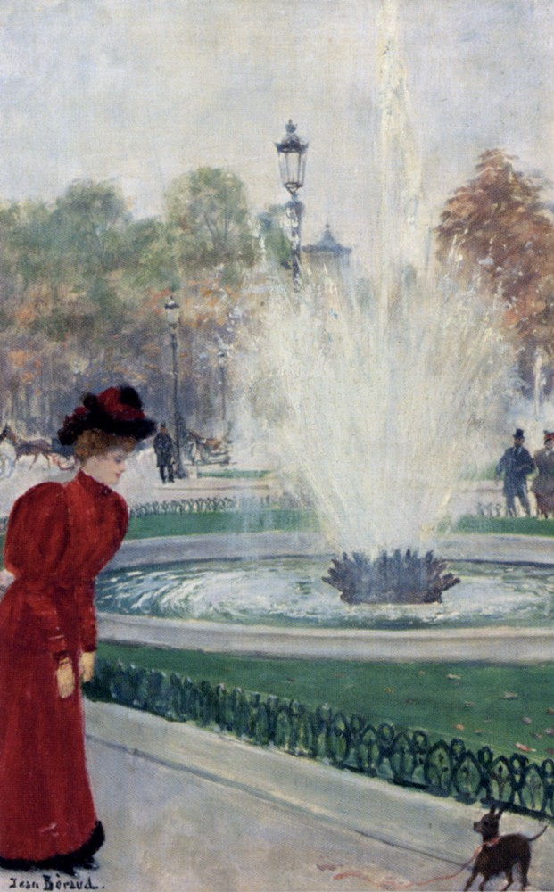 Parisienne Au Rond Point Des Champs Elysees by Jean Béraud
