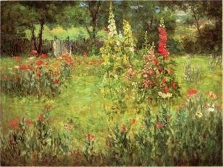 Hollyhocks and Poppies The Hermitage by J. Ottis Adams