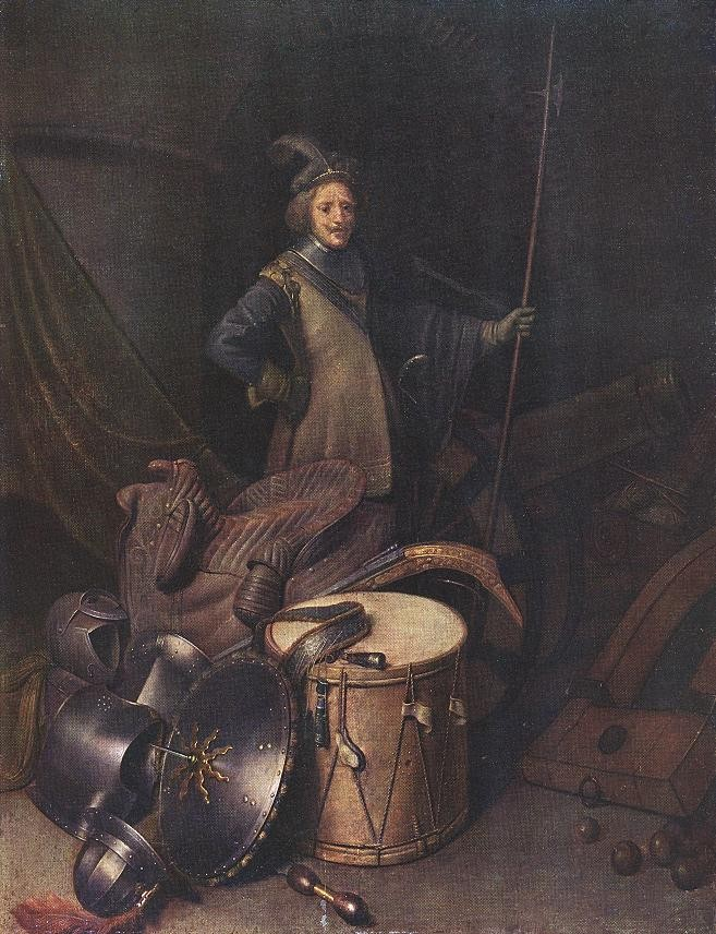 Officer Of The Marksman Society In Leiden 1 by Gerrit (Gerard) Dou