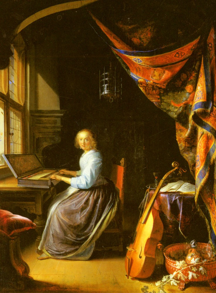 A Woman Playing A Clavichord by Gerrit (Gerard) Dou