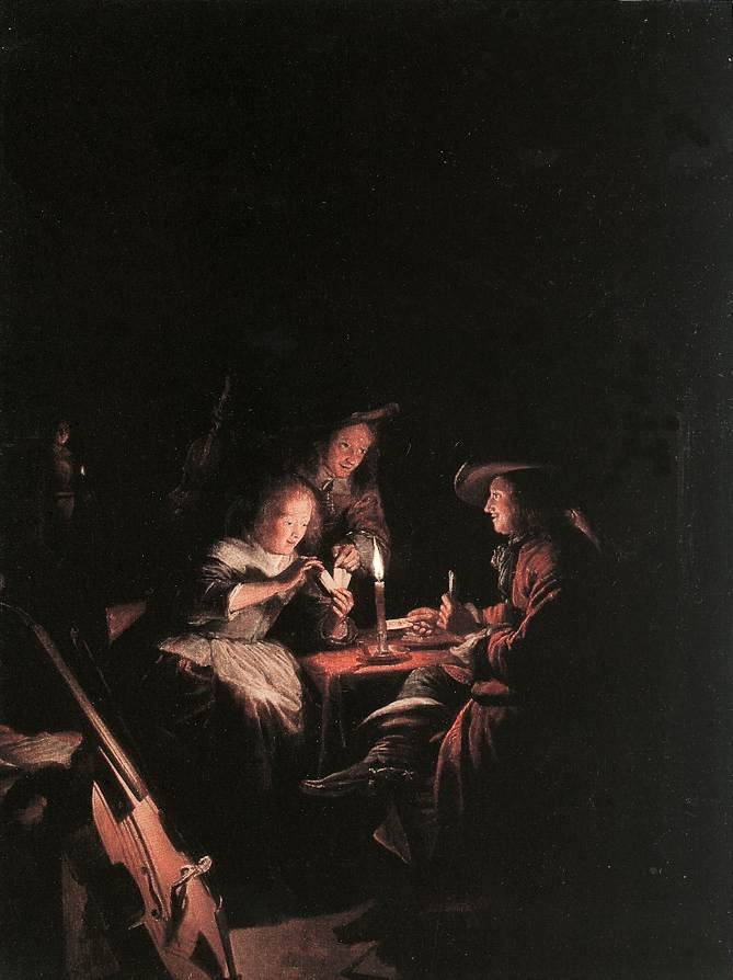 Cardplayers At Candlelight by Gerrit (Gerard) Dou