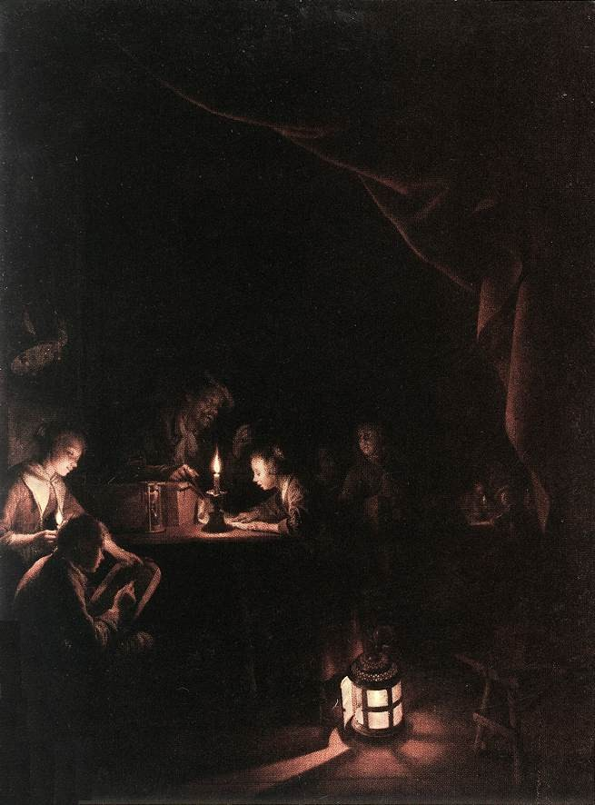 The Evening School by Gerrit (Gerard) Dou