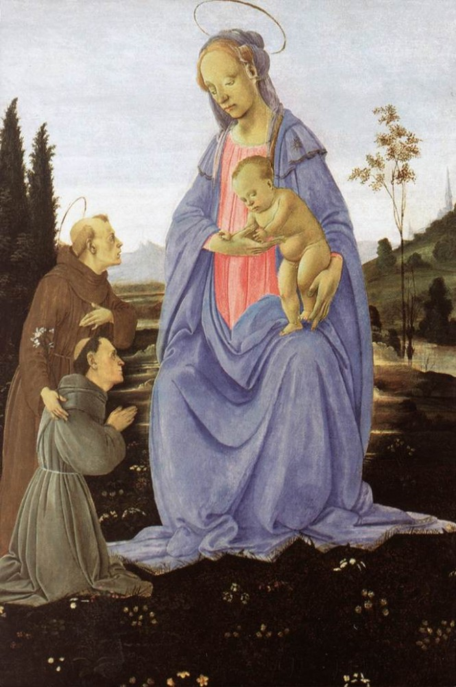Madonna With Child St Anthony Of Padua And A Friar Before by Filippino Lippi