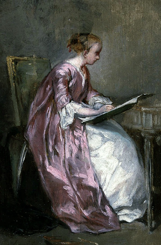 A Young Girl Drawing by Charles Joshua Chaplin