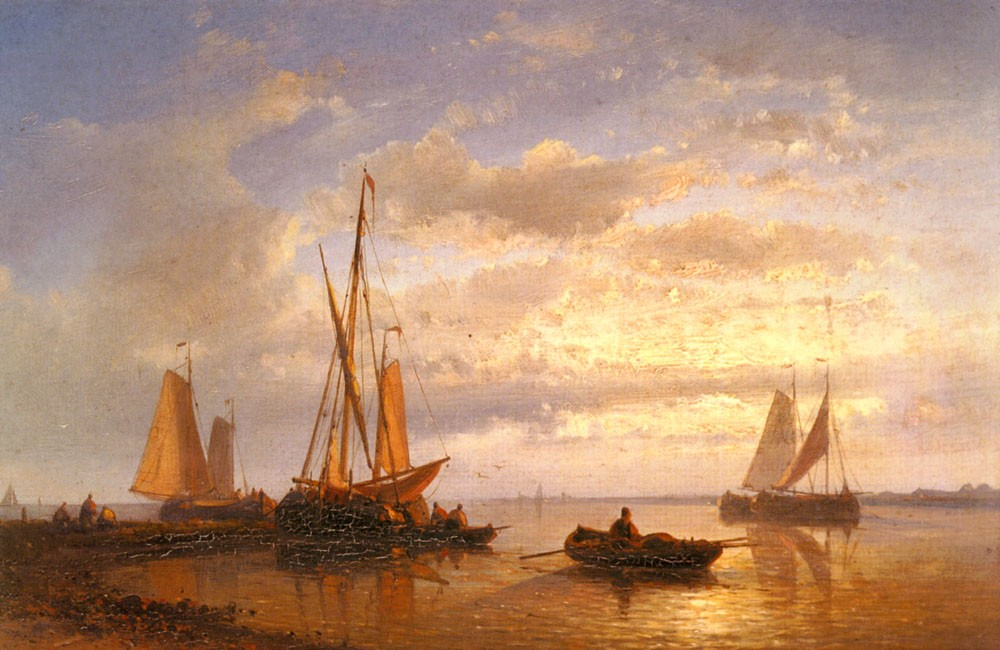 Dutch Fishing Vessels In A Calm At Sunset by Abraham Hulk