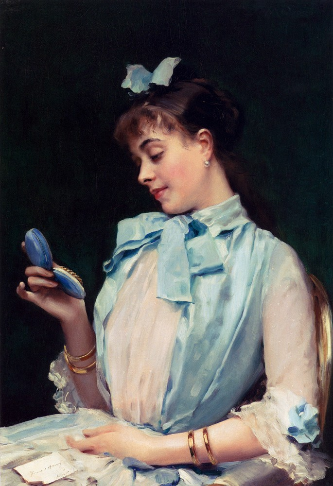 Portrait Of Aline Mason In Blue by Raimundo de Madrazo y Garreta