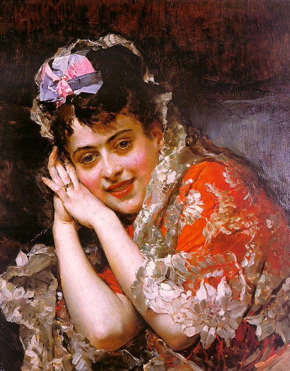 The Model Aline Masson with a White Mantilla by Raimundo de Madrazo y Garreta