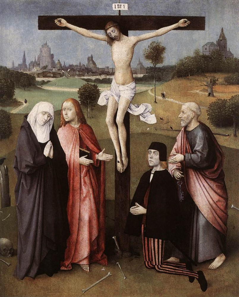 Hieronymus Crucifixion With A Donor by Hieronymus Bosch