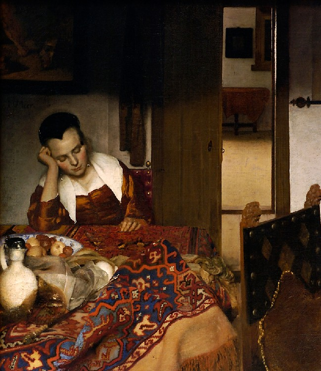 Maid Asleep At A Table by Johannes Vermeer