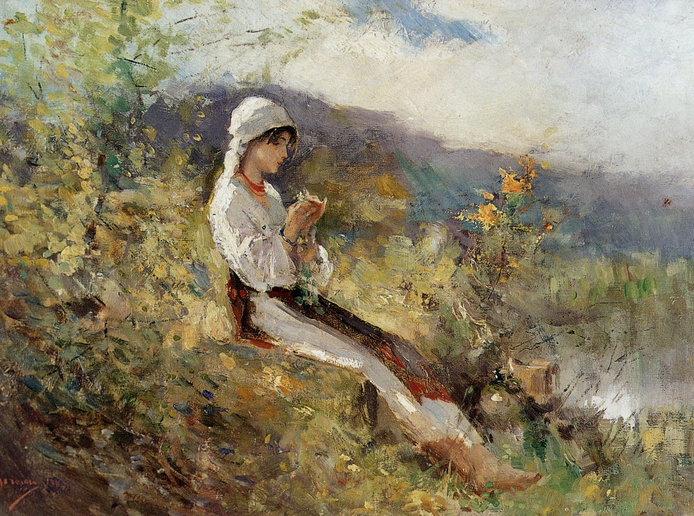 Peasant woman sitting in the grass by Nicolae Grigorescu