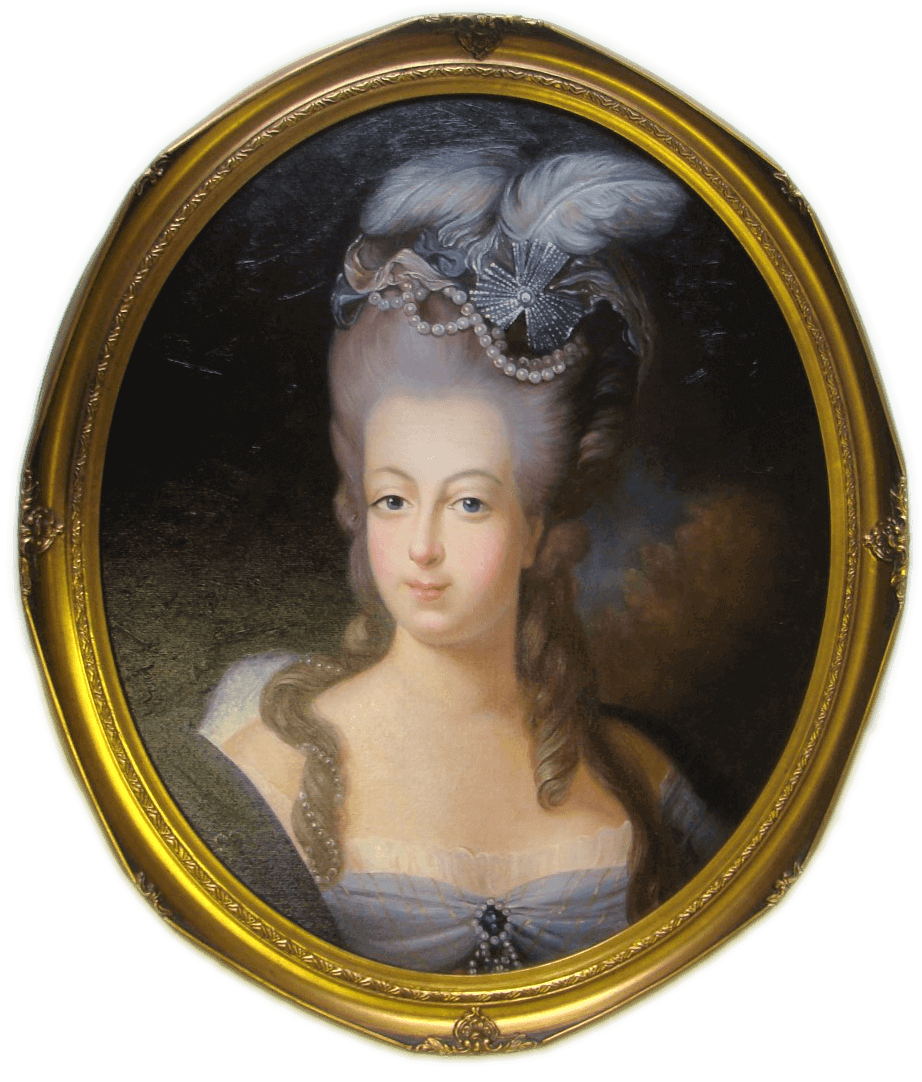 Marie Antoinette reproduction in ornate gold oval frame