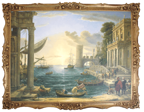 Very Large framed reproduction oil painting